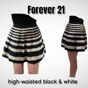 Forever 21  high-waisted black & white skirt s